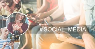 Social media.Summer day.Close-up of smartphones and tablet computer in hands of young women sitting outdoors. In left part of image there are round icons with royalty free stock images