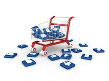 Social media symbol with shopping cart. Stock Image