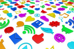 Social media symbols background Stock Photos
