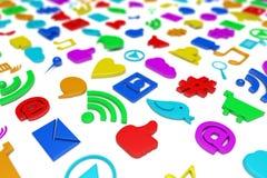 Social media symbols background Stock Photos