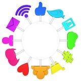 Social media symbols. Colorful social media symbols - 3d render Royalty Free Stock Photo