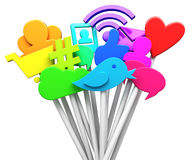 Social media symbols Stock Image
