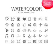 Social media  symbols. Watercolor icon Stock Images