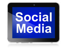 Social media on tab. Social media network on tab white text on blue background Royalty Free Stock Photos