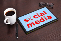 Social media on tablet stock image