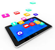 Social Media Tablet Indicates Application Software And Communication Stock Photo