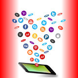 Social media and a tablet pc Royalty Free Stock Image
