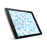 Social media on tablet,tablet on White background,tablet  illust Stock Photography
