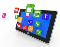 Social Media-Tablet zeigt Computer Apps und Portable Lizenzfreie Stockfotografie