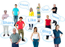 Social media is taking over the world. Go social. Like, share, tweet your thoughts Stock Image
