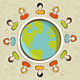 Social media teamwork world concept. Diversity people teamwork conneciton around the world over pattern background. Vector illustration layered for easy Royalty Free Stock Images