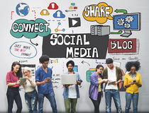 Social Media Technology Global Communication Concept Stock Images