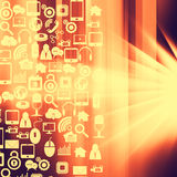 Social media and technology icons on  abstract  background Stock Photo