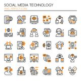Social Media Technology. Thin Line and Pixel Perfect Icons Royalty Free Stock Photo