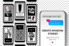 Social media templates, Beauty Blog Create your amazing Stories, set for brands and blogger, modern promotion web banner for socia Stock Images
