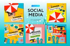 Social media templates Summer Time, use for brands and blogger, modern promotion web banner for social media mobile apps Royalty Free Stock Images