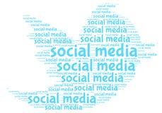 Social Media Text Cloud Design Over White Stock Photo