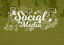 Social Media text with drawings graphics Stock Photos