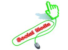 Social media text with mouse. And hand cursor Royalty Free Stock Photos