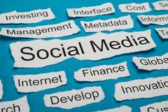 Social media text on piece of torn paper Royalty Free Stock Image