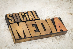 Social media text in wood type Royalty Free Stock Photography