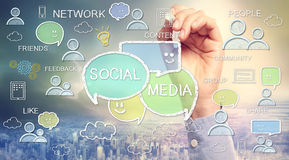 Social media texts and cartoon Stock Photos