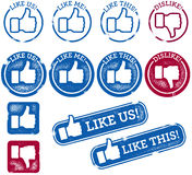 Social Media Thumbs Up And Like Stamps Stock Photo