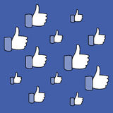 Social media, thumbs up sign. Pattern on a blue background. Vector illustration.  Stock Photography