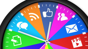 Social Media Time Clock Royalty Free Stock Images