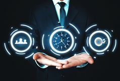 Social media, time management and target achievement. Business c. Oncept stock photo