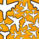 Social media travel business pattern. Social media networking in travel business. Airplane symbol pattern over icon set seamless pattern background. Vector file Stock Images