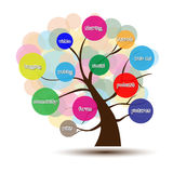 Social Media tree. A business multicolored Tree with circles background and a description of major social media Royalty Free Stock Images