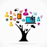 Social media tree. Abstract logo with social media tree Royalty Free Stock Images