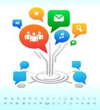 Social media. Tree Forum chat bubbles. Icons Royalty Free Stock Photography