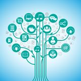 Social media tree. Network concept with web communication icons vector illustration Royalty Free Stock Image
