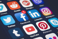 Social media. Are trending and both business as consumer are using it for information sharing and networking. Showing  icons on smartphone Stock Images