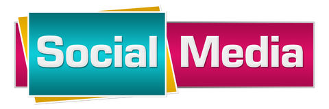 Social Media Turquoise Pink Horizontal royalty free illustration
