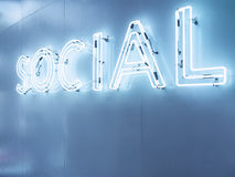Social Media Type font Neon Signage on wall Blue tonel. In Perspective Royalty Free Stock Photos