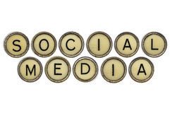 Social media in  typewriter keys Royalty Free Stock Photo