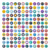 Social Media und Netzfarbflache Ikonen Lizenzfreies Stockbild