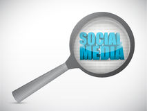 Social media under magnify search illustration Stock Image