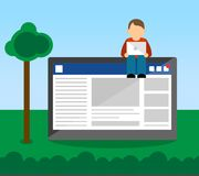 Social Media User Concept with User. User sitting on top of a screen with a social media concept. User is using their laptop in an outside environment Royalty Free Stock Images