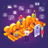 Social media vector illustration. Group of people browsing, work Stock Photography