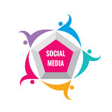 Social media - vector logo template illustration. Pentagon sign with abstract shapes of people. Friendship teamwork concept layout Royalty Free Stock Images