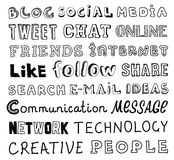 Social media vector sketch text Royalty Free Stock Photography