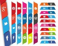 Social Media versah Ikonen mit Laschen Stockfotografie