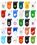 Social Media Vertical Labels with Icons [2] Stock Image