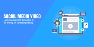 Social media, video marketing, video promotion on social network, content advertising concept. Flat design vector banner. stock illustration