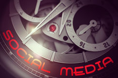 Social Media on the Vintage Wrist Watch Mechanism. 3D. Stock Photos