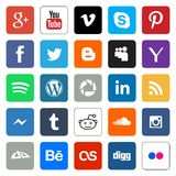 Social media web buttons. Vector set collection of 25 popular social media squared and colored flat style buttons for the web. Including Facebook, Youtube Stock Photos